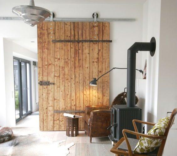 Duże drzwi przesuwne metal i drewno
