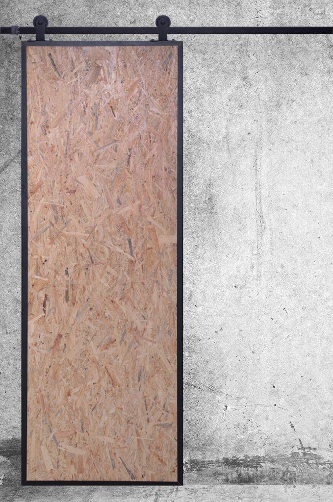 drzwi przesuwne industrialne, drzwi z płyty osb