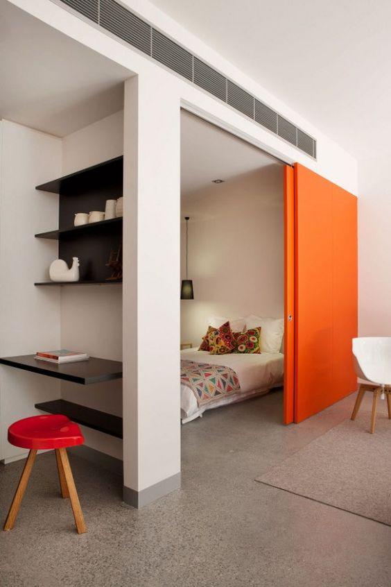 mini apartament, drzwi przesuwne