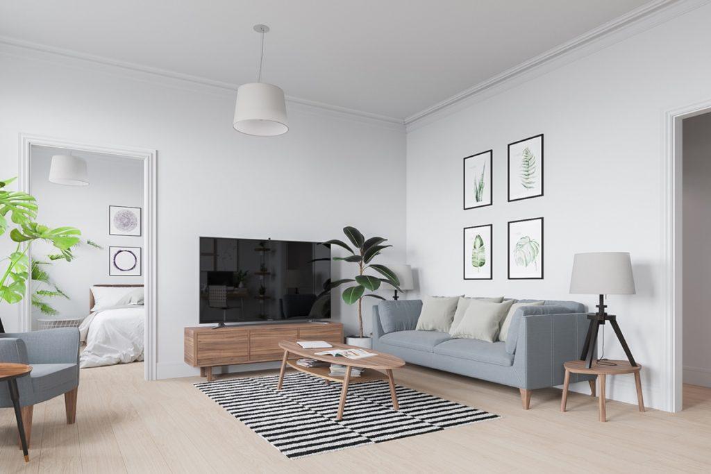 proste i funkcjonalne skandynawskie wnętrza lubią otwartą przestrzeń i drzwi przesuwne