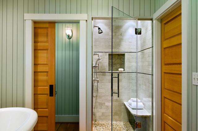 Drzwi przesuwne ukryte w kasecie mają swoje zastosowanie również w łazience