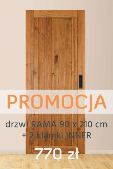 Drzwi RAMA dąb (90 x 210) + 2 Klamki INNER