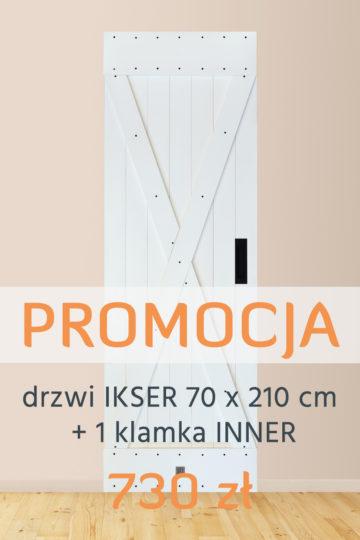 Drzwi IKSER biel kryjąca (70 x 210) + 1 Klamka INNER